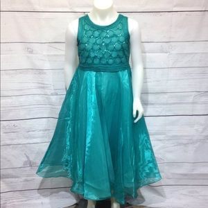 Tip Top Kids Sleeveless Party Dress Size 12 Teal